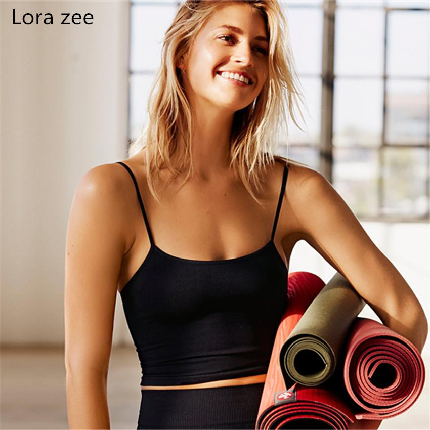 4d4e486bf1d 2019 LORA ZEE Yoga Top With Built In Bra White T Shirt Women Black Gym Top  Sexy Sports Tank Slim Crop Cute Workout Activewear From Enjoyweekend, ...