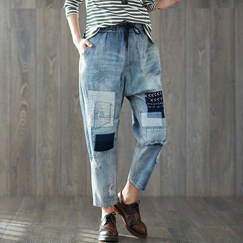 571f3f419009 Acheter Patchwork Vintage À Empiècement En Denim Jeans Trou Trou Femme  Droite Cordon Élastique Taille Jeans Déchiré Pantalon Femmes De  40.33 Du  Harrvey ...
