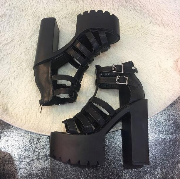 8f70e36c86c1 Sexy High Platform Strappy Sandals Cut Out Peep Toe Ankle Strap Buckle  Chunky Heels Dress Shoes Women Gladiator Sandals Boots Leather Sandals  Wedding ...