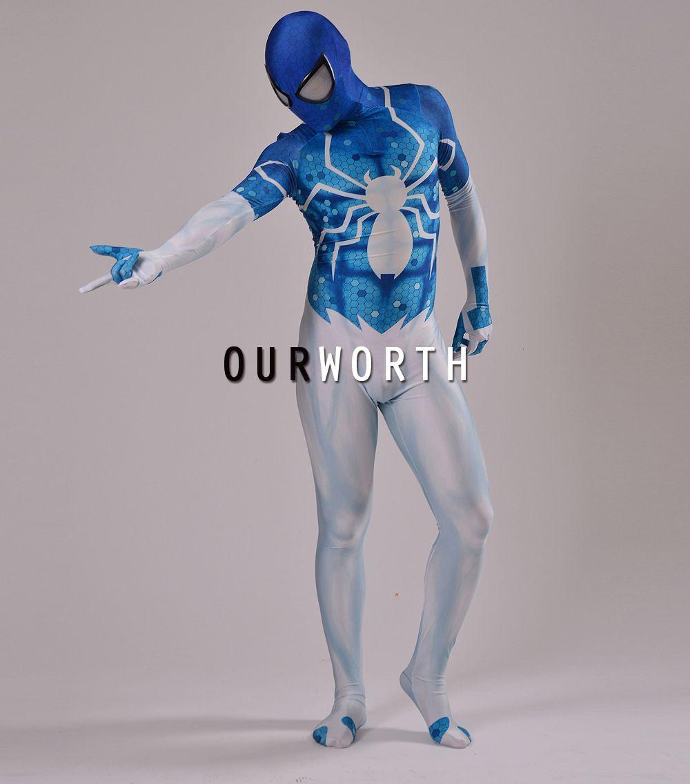 2018 New Digital Spiderman Costume Blue White 3D print Shade Cosplay Comic spider-man Costume Male Spandex Superhero Costume