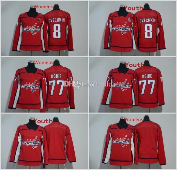 outlet store be432 c35a7 2018 New Men Youth Womens Washington Capitals Jersey 8 Alex Ovechkin Jersey  77 TJ Oshie Hockey Jerseys Kids Womens Red Blank