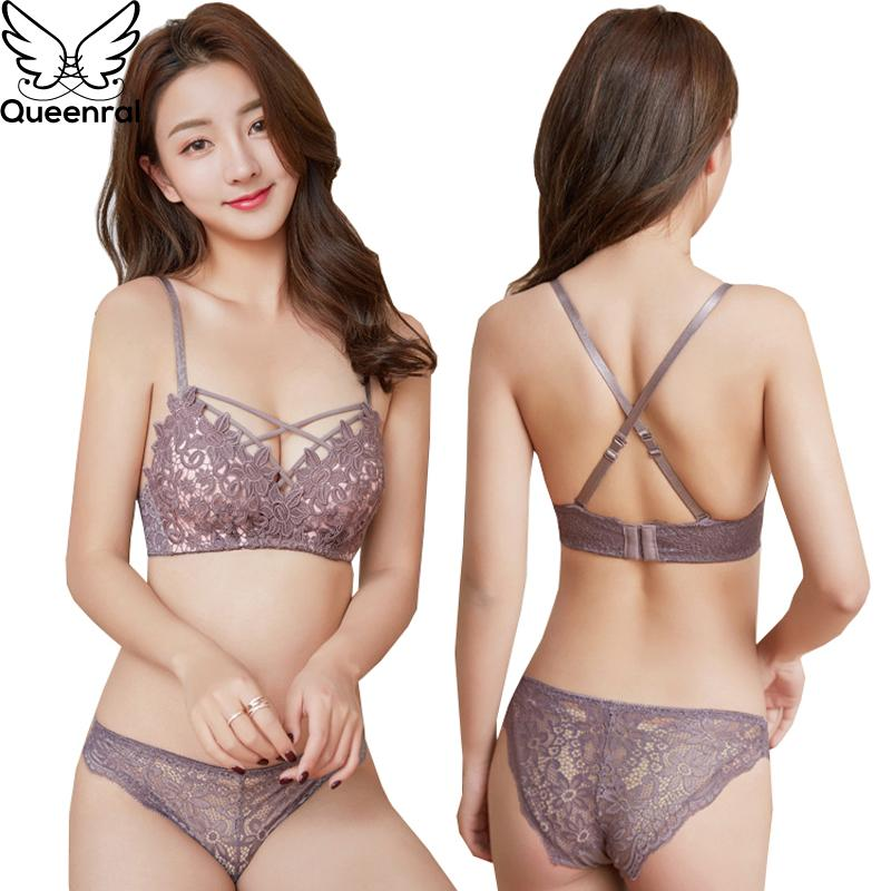 2daae5b2530 2019 Wholesale Sexy Embroidery Bra Set Push Up Underwear Set Lingerie Women  Floral Wire Free Bra Brief Sets 34B Spandex Black Pink From Youerclothing