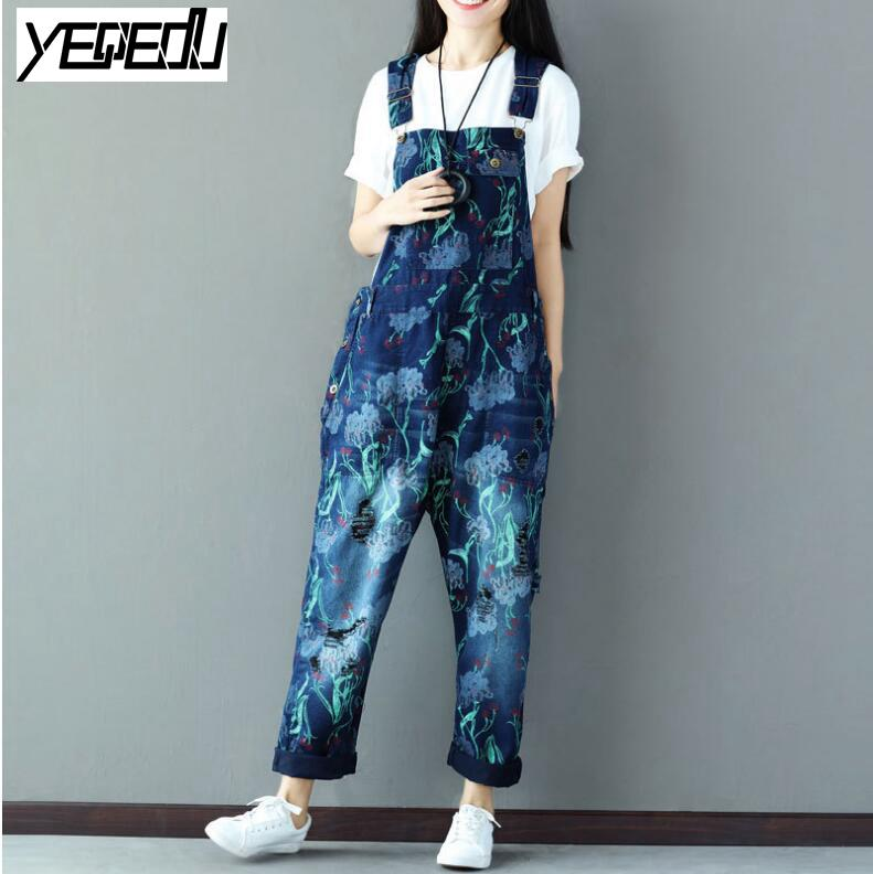 5c742ad3b2 2019  0323 2018 Big Size With Hole Vintage Denim Overalls Women Denim  Jumpsuits Crop Top Jeans Rompers Womens Jumpsuit Streetwear From Redbud01