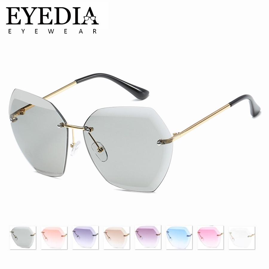 47858a24e Compre Moda Óculos De Sol Para As Mulheres Quadrado Sem Aro De Diamante  Lente De Corte Marca Designer Shades Rosa Marrom Cinza Azul Óculos De Sol  7741CJ De ...
