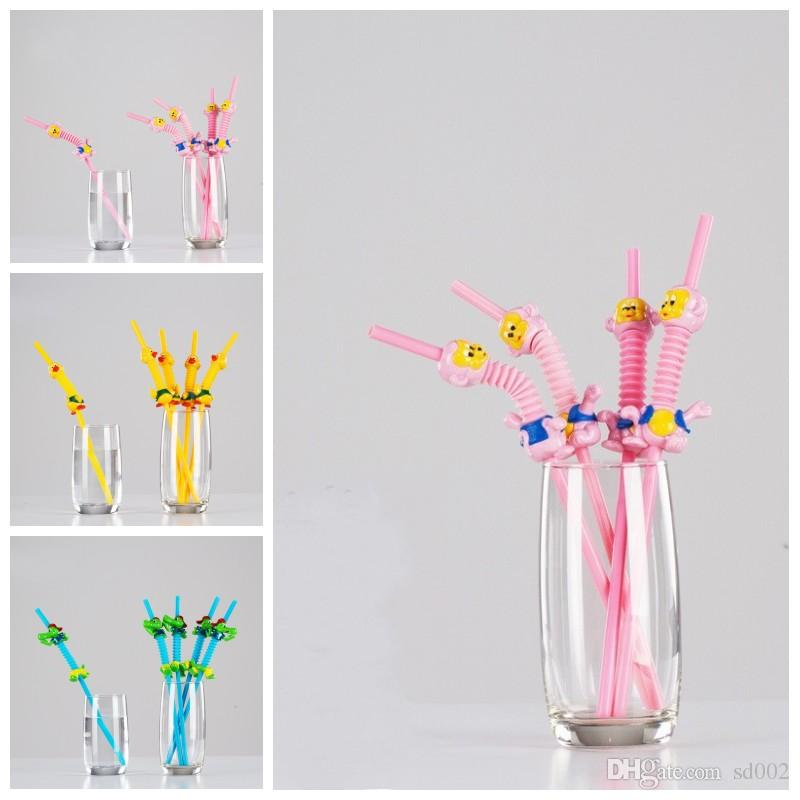 24db684298a13 Cartoon Plastic Straw Cute Animal Shape Disposable Straws Party Bar  Drinking Tool Multi Color Hot Sale 1 5by C