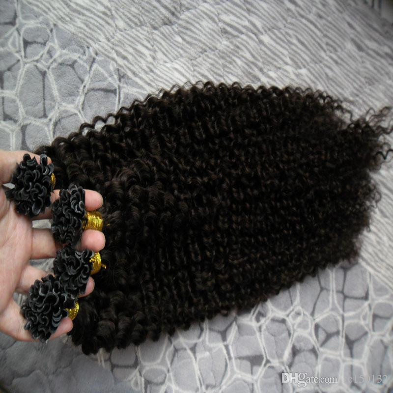 Natural Color Mongolian Kinky Curly Hair U Tip Human Hair Extension 200g afro kinky curly pre bonded fusion human hair extensions