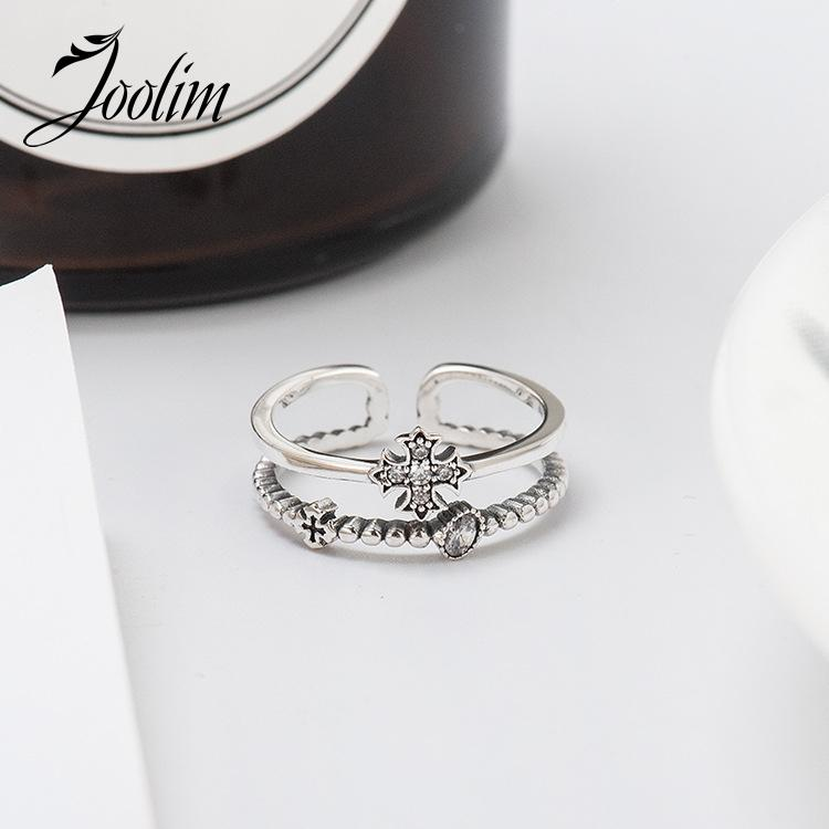 Joolim Real 925 Sterling Sier Ring Resizable Ring Vintage Cross Ring Anillo Coreano
