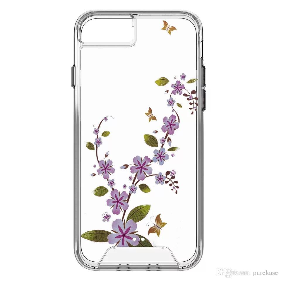 PURE KASE pour iphone X Clear Case, Fleur Case Clear Design imprimé dur avec TPU Bumper Housse de protection pour iPhone 7 8