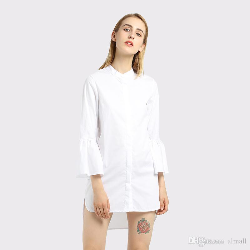 new product 28771 04cb4 Abito donna bianco Abito camicia bianca Autunno Moda manica a maniche corte  Abito donna elegante Abiti casual