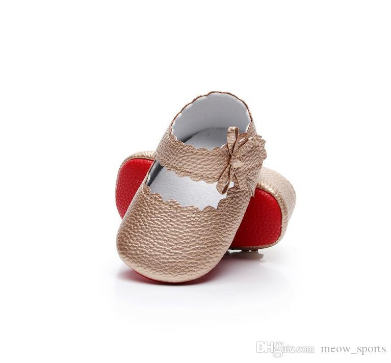 New bows Baby girls moccasins soft sole pu leather prewalker booties toddlers infants bow baby shoes first walkers