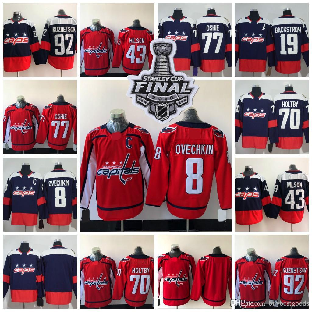 ae47b89f22d 2019 2018 Stanley Cup Washington Capitals 8 Alexander Ovechkin 77 TJ Oshie  70 Braden Holtby 19 Nicklas Backstrom Winter Classic Hockey Jerseys From ...
