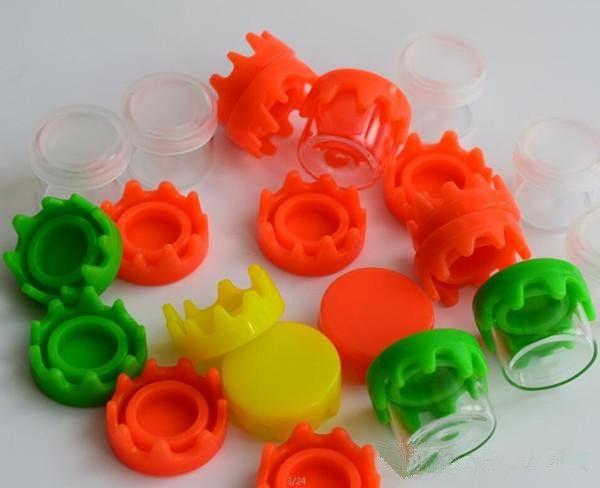 6ml Food Grade Non-Stick e vape Dab Vaso di vetro Jar Wax Container 6ml Contenitore Concentrato Bottiglia con coperchi in silicone verde rosso giallo