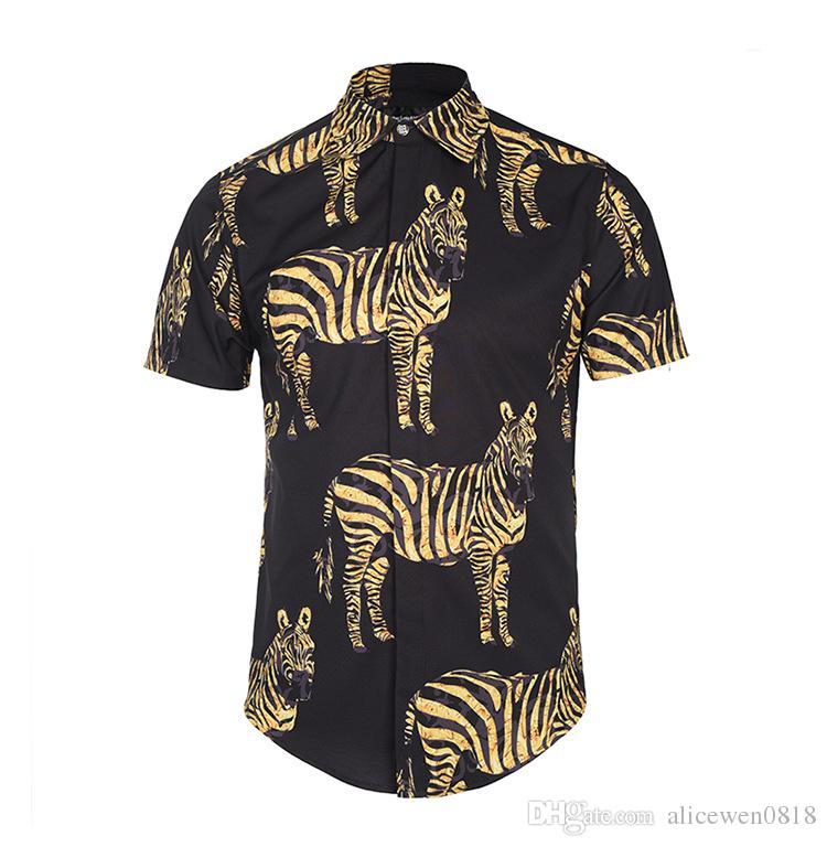 2018 New summer mens soft silk fabric dress shirt fashion design Black color zebra 3D Print male casual silk shirts short sleeve
