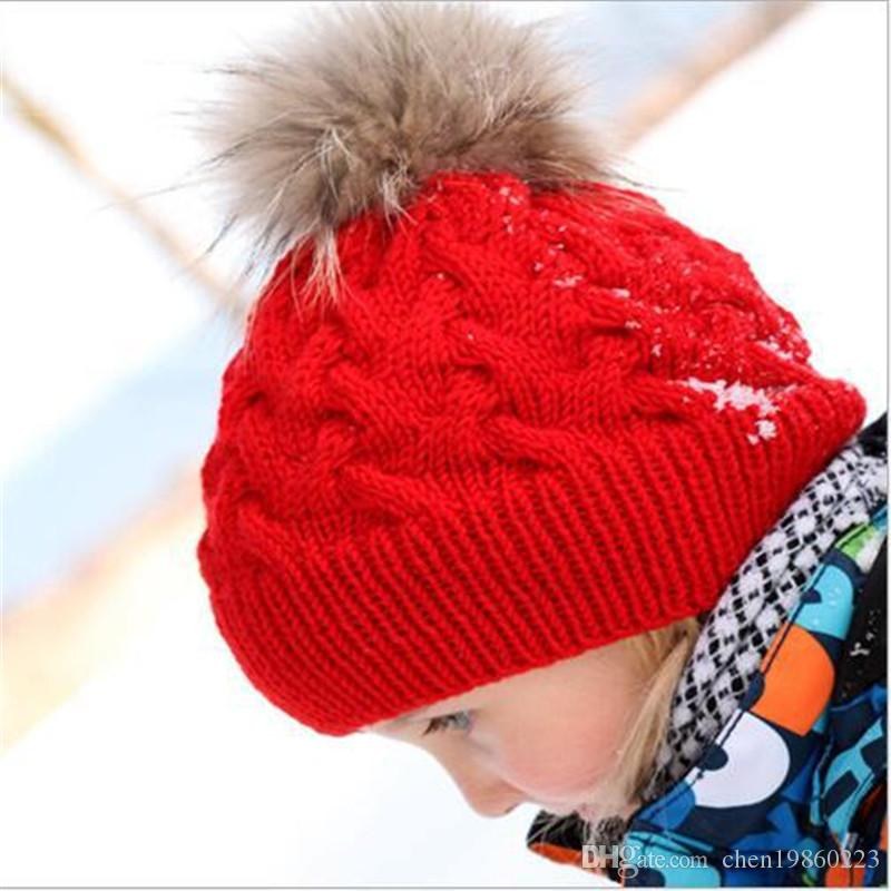 1df4d113504 Children S Twisted Knit Wool Hat With Hair Ball Hat Baby Winter Warm Hat  Hot Sale Europe And The United States Explosion Models Beanies For Men  Trucker Caps ...