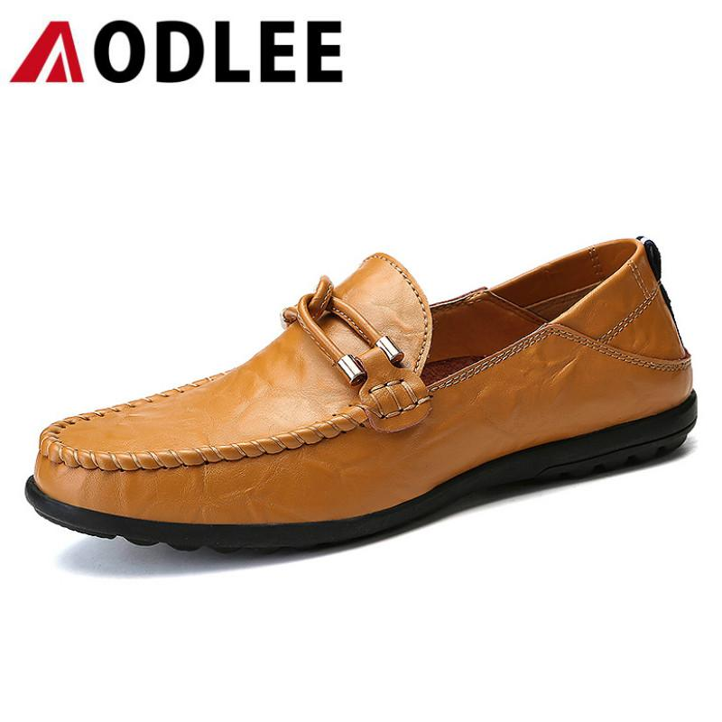 bd61496eeb6bac Großhandel AODLEE Plus Größe 38 47 Männer Müßiggänger Marke Luxus Echtes Leder  Schuhe Männer Fahren Bootsschuhe Atmungsaktive Mode Lässig Von Bearonly