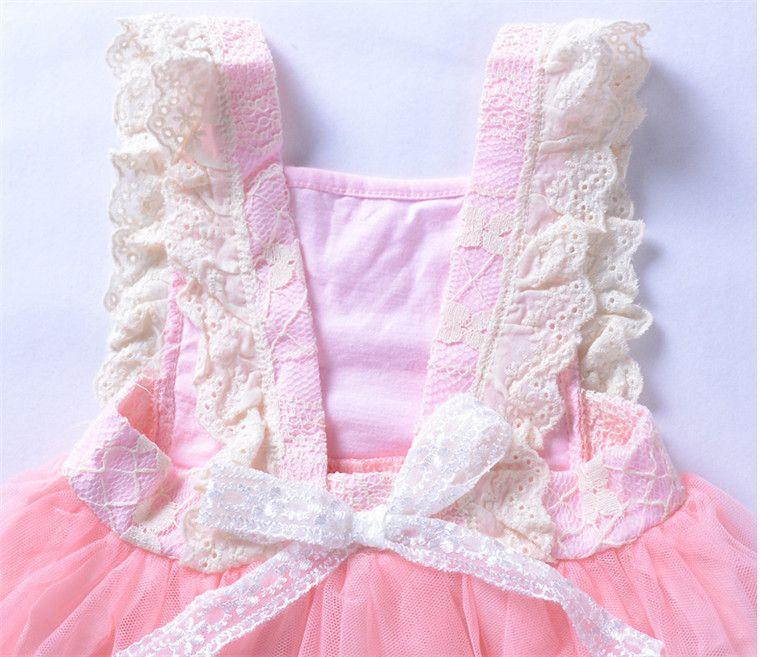 Venta caliente de los bebés de color rosa vestidos de boda para niños vestidos de tutú 2018 Ropa de fiesta de los cabritos lindos vestidos de fiesta de encaje envío rápido