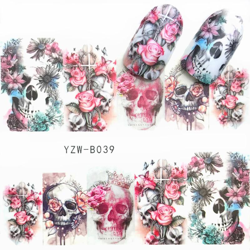 2 Sheets Skull Nail Art Stickers Japan Cyberpunk Nail Water Decals