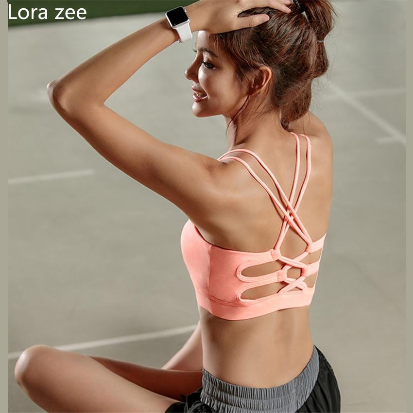 f48028bea9b68 High Quality Womens Pink Sports Bra High Impact Cross Back Padded ...