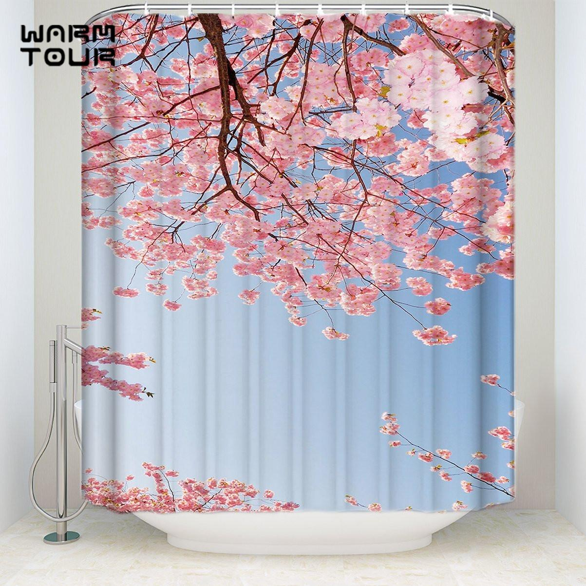 2018 Bath Shower Curtains 48 X 72 Inches Beautiful Sakura Cheery Blossom Sky Mildew Resistant Bathroom Decor Sets With Hooks From Huweilan 2706