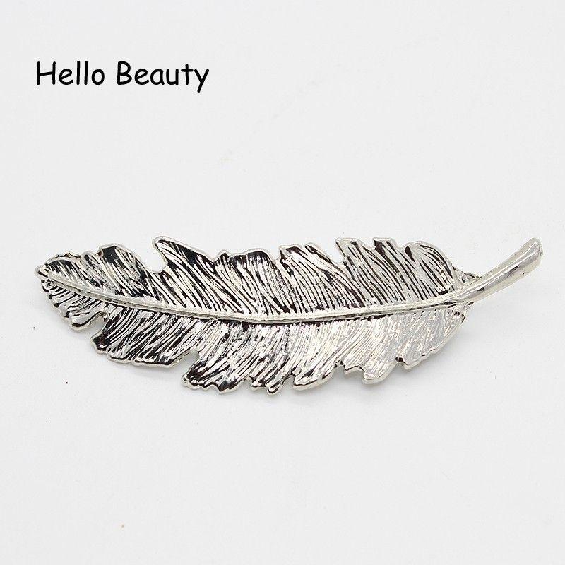 European Fashion Gold Color Leaf Metal Hair Pin Feather Hair Barrette Punk Elegant Fancy Hair Clip For Women Accessories