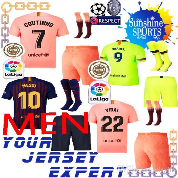 Compre Kit De Hombre Barcelona VIDAL SUAREZ O.DEMBELE Jerseys 2018 2019  Conjunto De Adulto Camisas Coutinho Messi INIESTA Rosa 18 19 Home Visitante  TERCERA ... e1b3f7d9204