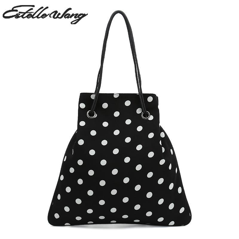 2019 Fashion 2018 New Estelle Wang Wave Point Bucket Chiffon Shoulder Bags  Fashion Women Dot Drawstring Pouch Phone Bag Black White Handbag Leather  Purse ... 3aae7e062