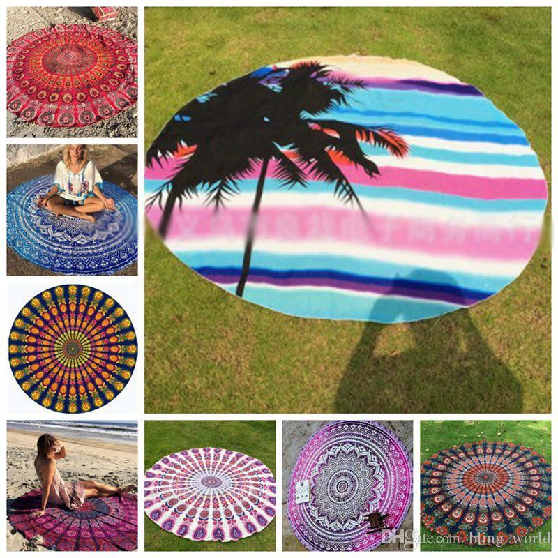 eca182727e Acquista Asciugamano Da Spiaggia Rotondo In Poliestere Arazzo Hippie Di  Mandala Boho Hippie Indian Tovaglia Tiro Yoga Mat Scialle Di Protezione  Solare Wrap ...