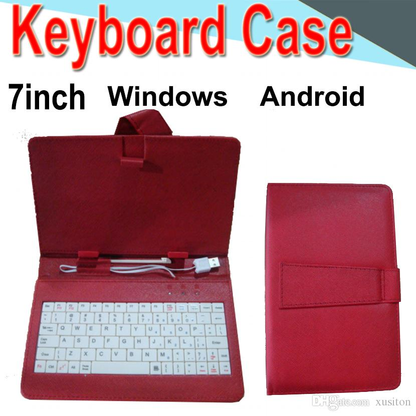 Wire Keyboard Case 7inch Cover for Android Windows Ultra Thin Wireless Color ABS Keyboard PU Case Universal Mobile Phone EXPT-4