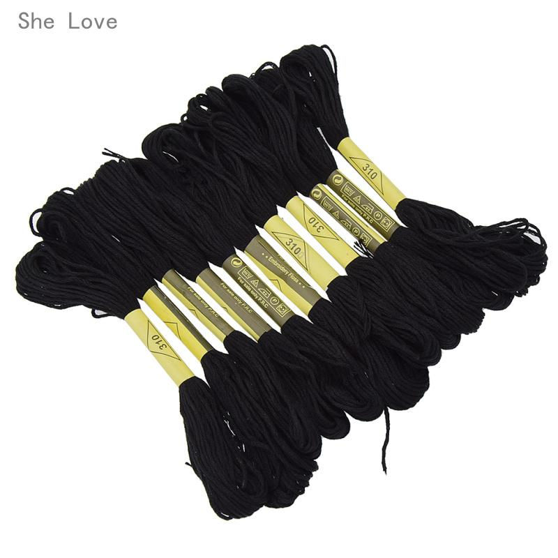 6 Black Anchor Cotton Cross Stitch 8m Embroidery Thread Skeins BEST PRICE UK