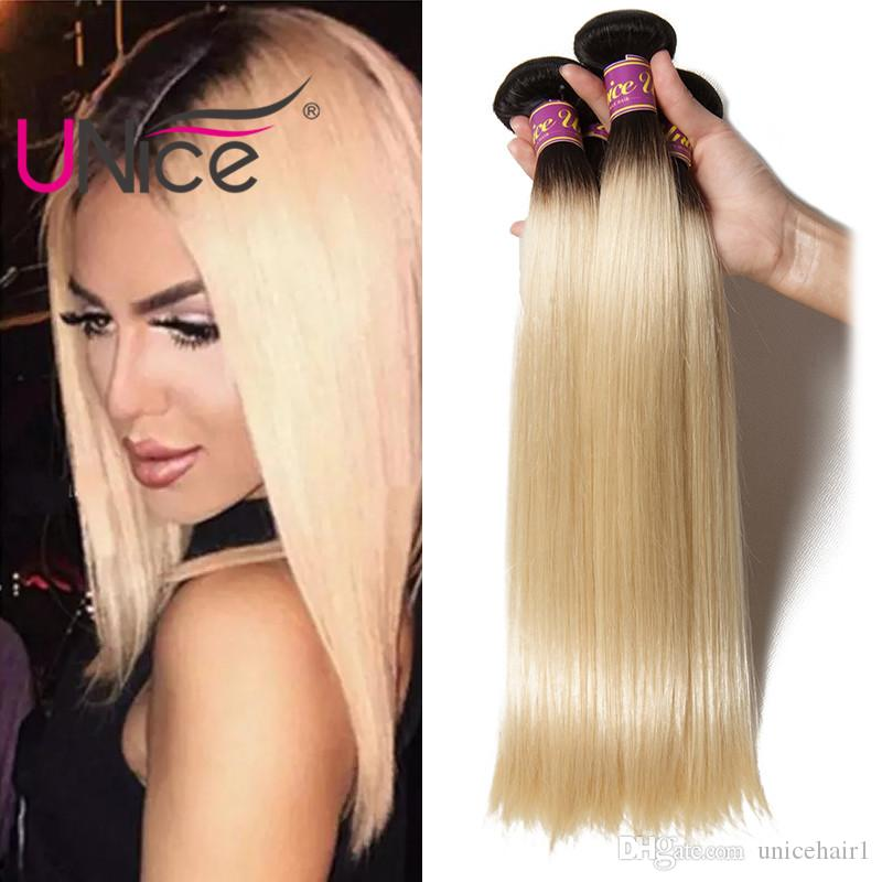 UNice Hair 8A Brazilian Straight 3 Bundles Ombre 1B 613 Remy 100% Human Hair Extensions Wholesale Cheap Nice Bulk Two Tone