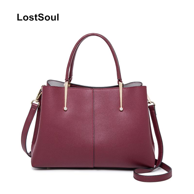 LostSoul brand cow leather women Top-handle bags Simple tote business bag briefcase lady classic minimalist handbag shoulder bag