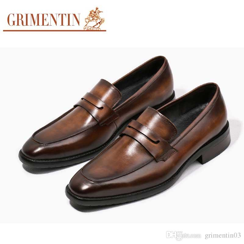 96613bae946465 GRIMENTIN Newest Handmade Luxury Retro Mens Wedding Shoes Genuine Leather  Slip On Black Brown Men Loafers Size 6 10.5 Y100 74Z Best Shoes Stacy Adams  Shoes ...