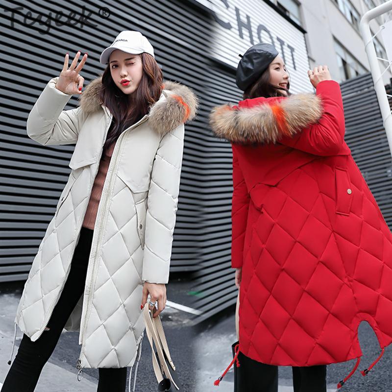fdd75c6617ee Tcyeek зимняя куртка женщин толстый вниз хлопок парки дамы длинное пальто  корейский ...