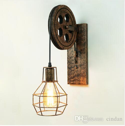 Acheter Ce Loft Lampe Rétro Créative Poulie De Levage Mur Lumière