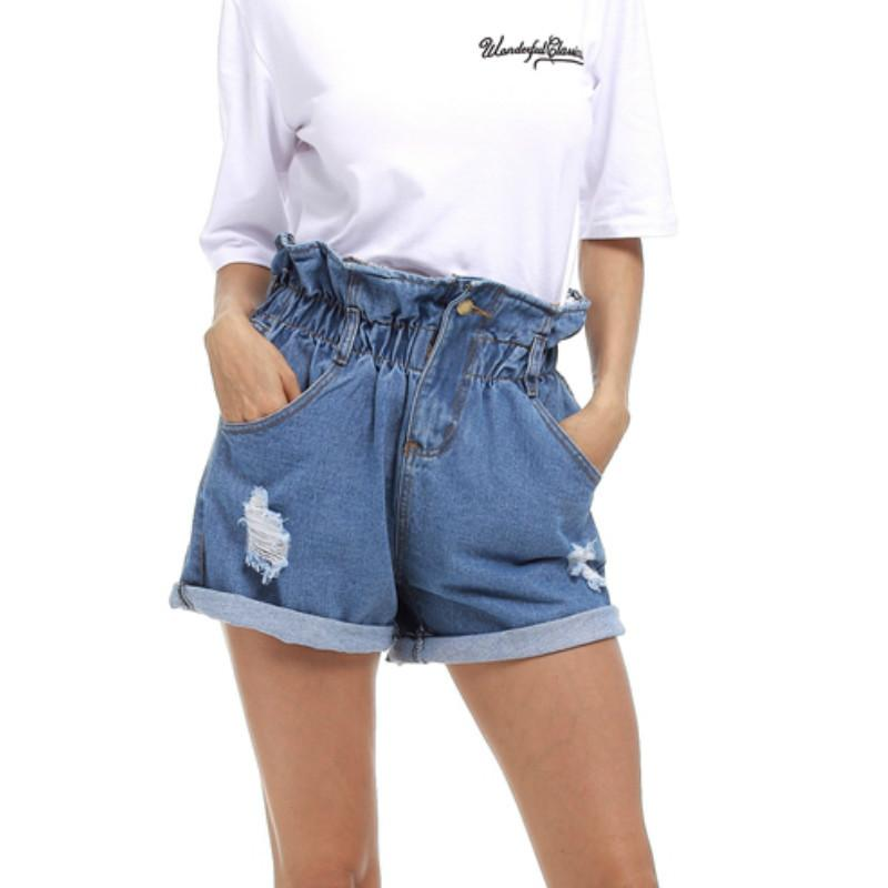 a22055fea7db 2019 женщин новые летние джинсовые шорты свободные случайные короткие  эластичные ...