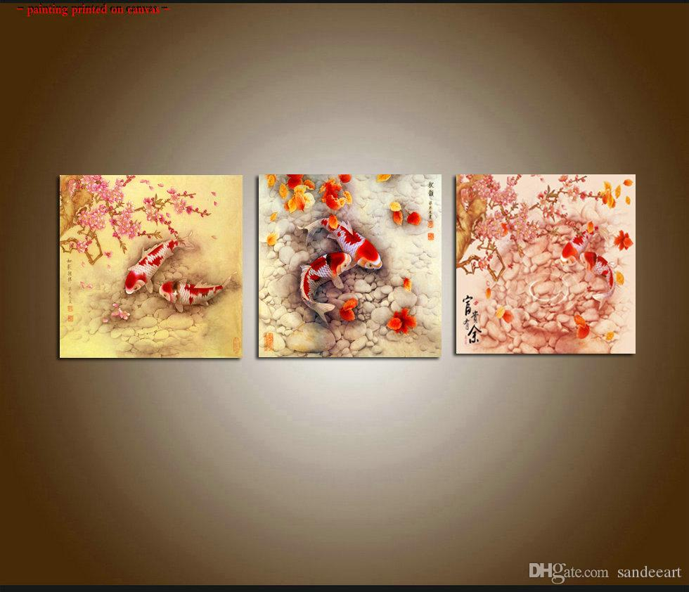 Enjoyable Framed Unframed Large Contemporary Abstract Art Feng Shui Koi Fish Giclee Print Oil Painting Canvas 3 Pieces Set Wall Dining Room Home Decor Download Free Architecture Designs Xerocsunscenecom