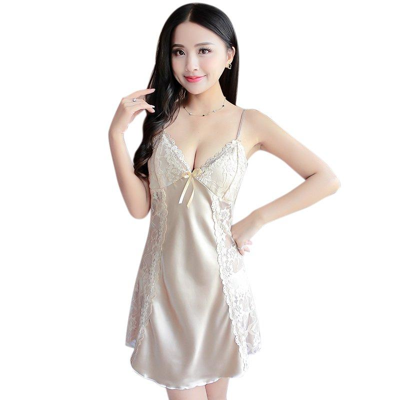 Hot Summer Sexy Women Spaghetti Strap Lingerie Sleepwear Women Nightdress Lace Nightwear Hem Sleepwear DressesCY2