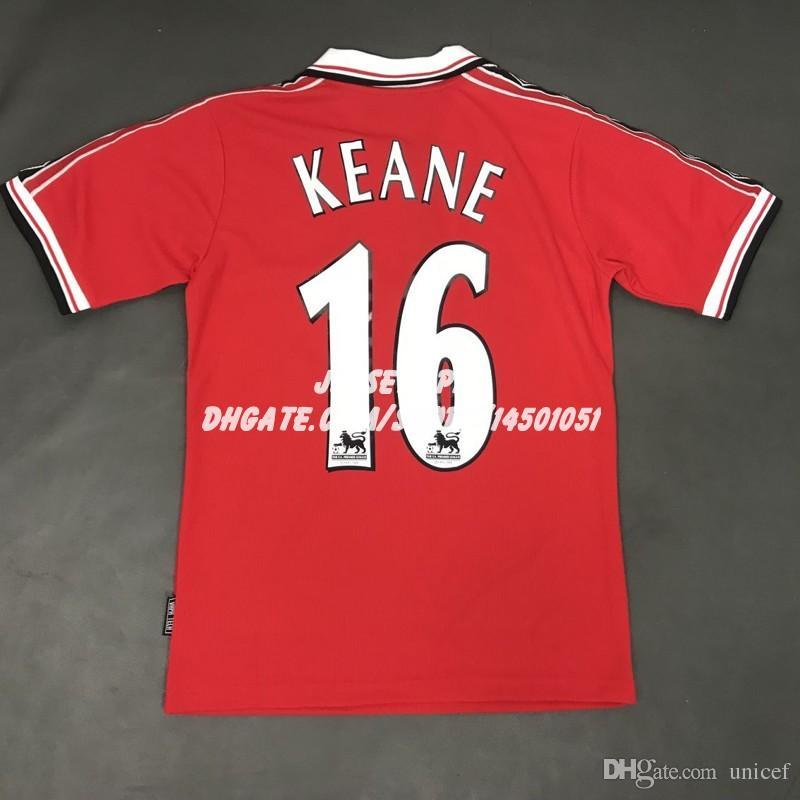 7e5c585ae32 Retro Soccer Jersey Old Trafford Camiseta Roy Keane 1998 1999 98 99 ...