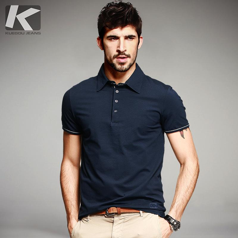 223c09dda06e 2019 Kuegou Summer Mens Casual Polo Shirts Patchwork Blue Color Brand  Clothing Man  S Short Sleeve Clothes Male Wear Slim Fit Tops 901 From  Netecool