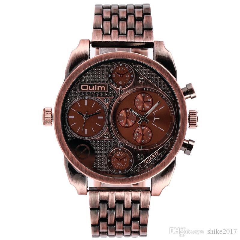 bd79e6a8d7f Compre Relógio Dos Homens OULM Rádio Europeu Importado Quartzo Relógio  Militar Homens Aço Inoxidável Relógio Esportivo Atacado