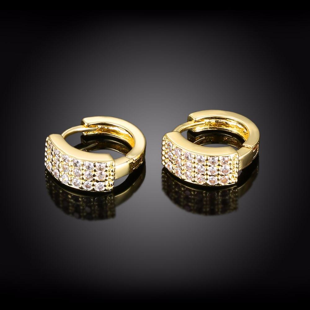 AMOURJOUX Romantico Triple Line Clear Zircone Orecchini a clip color oro lucido le donne clip alla moda sul polsino dell'orecchio femminile il partito