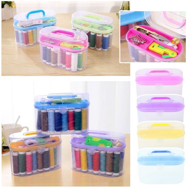 2018 Sewing Kit Tool Storage Box Needle Thread Scissor Organizer