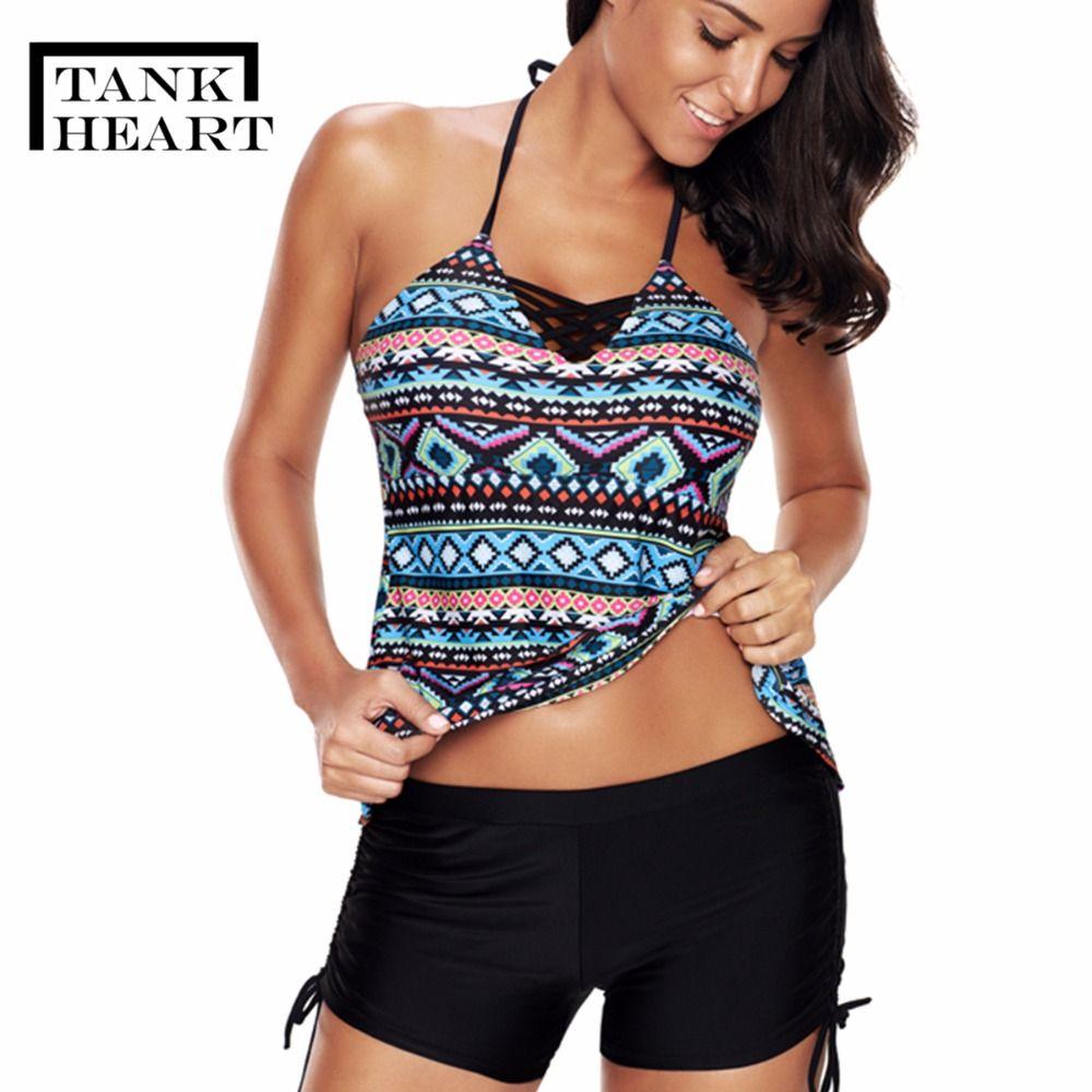 3111b2b33e 2019 Wholesale Vintage Print Sexy Tankini Swimsuits Women Plus Size  Swimwear Push Up Bikini Girl Two Piece Swimsuit Badpak Swim Suit From  Mingclothes001