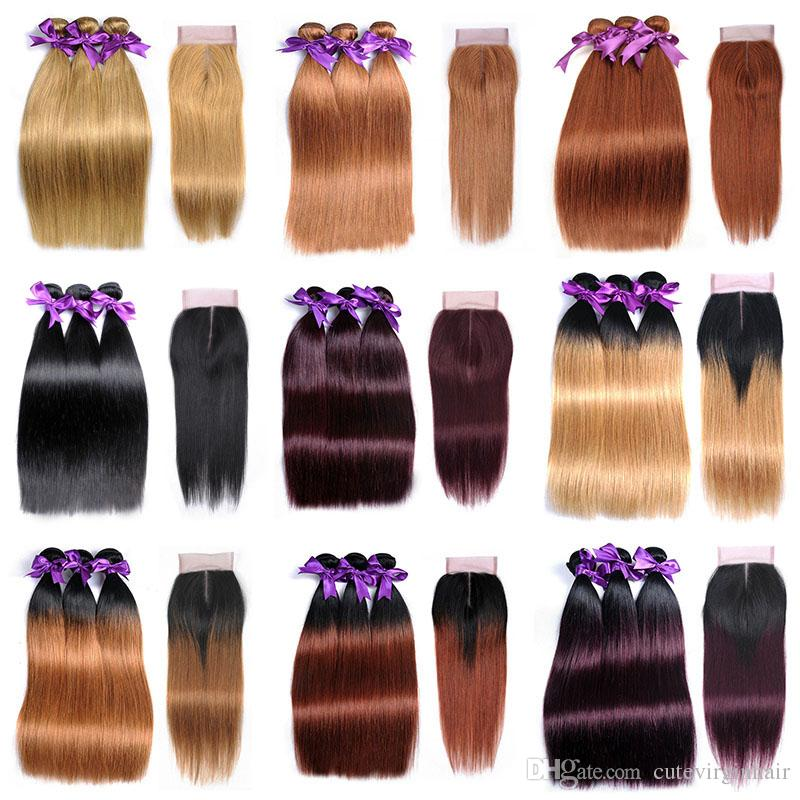 2018 Wholesale Colored Hair 3 Bundles With 4x4 Lace Closure Hair