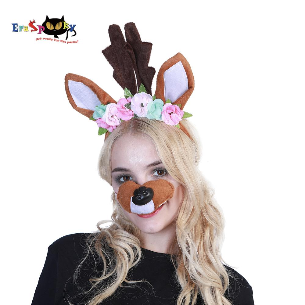 2018 eraspooky halloween costume accessories moose christmas cosplay rabbit unicorn dog cat headband nose set anime ears cosplay from bearlittle