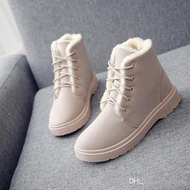 118639578 Compre Moda Botas De Nieve Caliente Mujer 2018 Botas De Invierno De Las  Mujeres Con Cordones Botines Zapatos De Mujer Zapatos De Plantilla De Felpa  Caliente ...