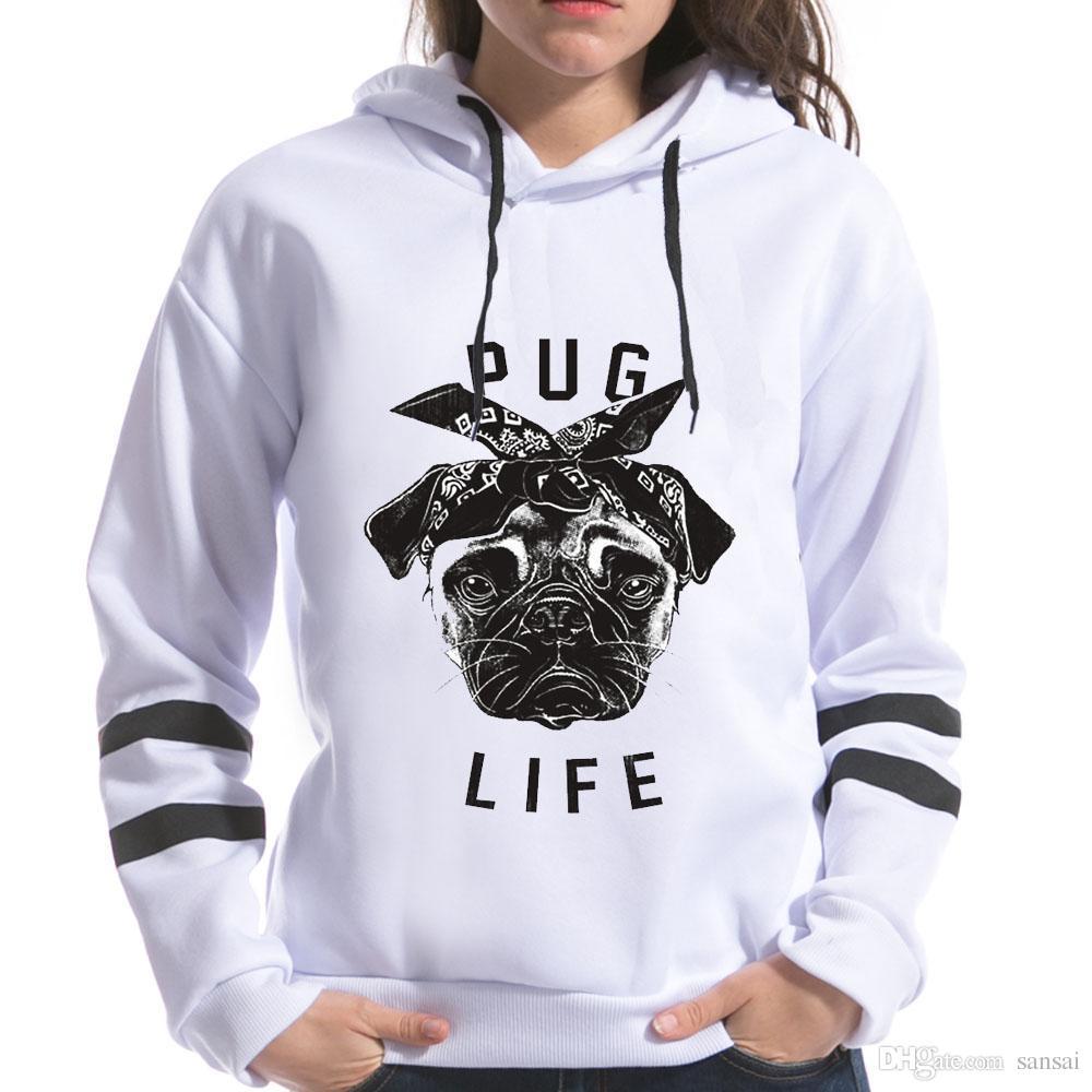 0286a7781cdb86 Acquista 2018 Pug Life Print Felpa Donna Con Cappuccio Manica Lunga Con  Cappuccio Harajuku Felpe Stile Coreano Donna Top Divertenti A $37.83 Dal  Sansai ...