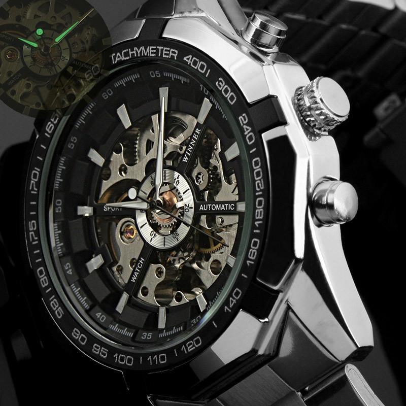 130c4b3a0b4 Compre 2016 Mens Relógios Top Marca De Luxo Vencedor Moda Esqueleto Relógio  Dos Homens Do Esporte Relógio Mecânico Automático Relógios Relogio Masculino  De ...