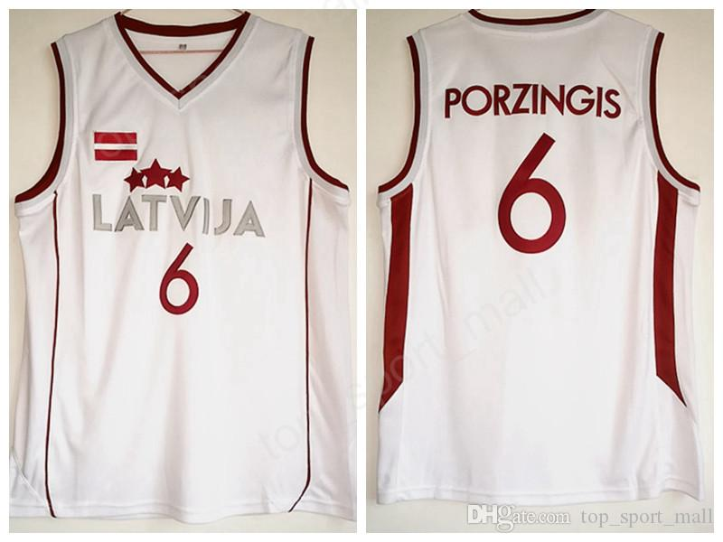 06e23a426835 2019 Cheap Kristaps Porzingis Jersey 6 Men For Sport Fans Latvija Basketball  Jerseys Porzingis Uniforms Team Color White Breathable College Sale From ...