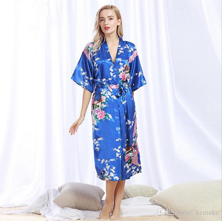 b0c3b6987e Nightwear Ladies Summer Bathrobe Cardigan Sexy Pajamas Silk Pajamas ...